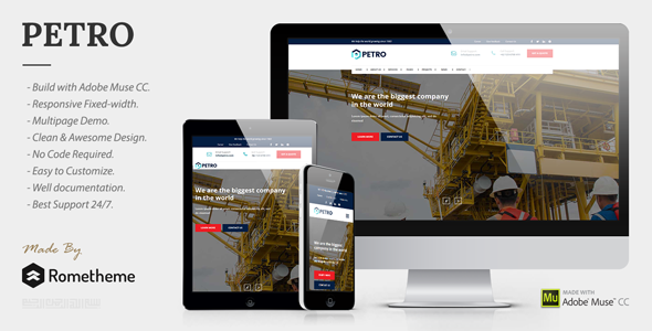 Petro - Industrial Muse Template - Corporate Muse Templates