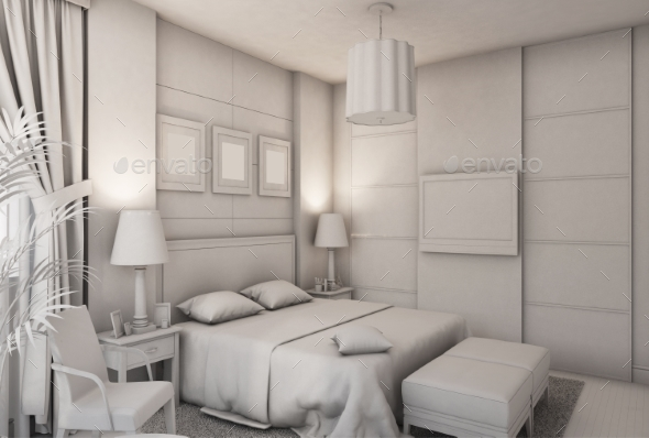 3d Render of a Bedroom in Modern Style - Architecture 3D Renders