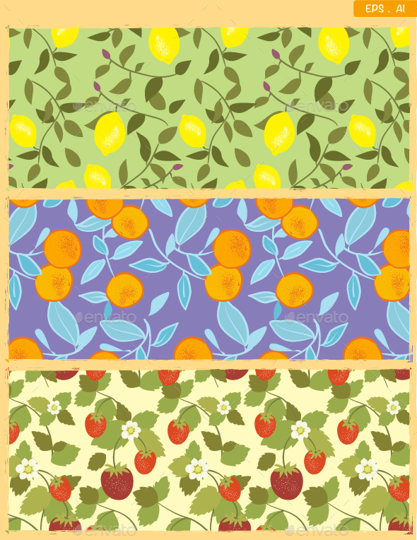 Seamless Fruits pattern in Vintage style - Patterns Decorative