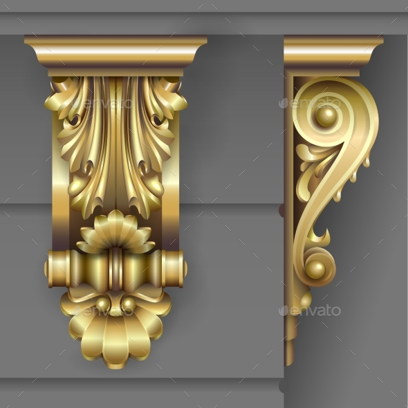 Gold Classic Facade Bracket - Buildings Objects
