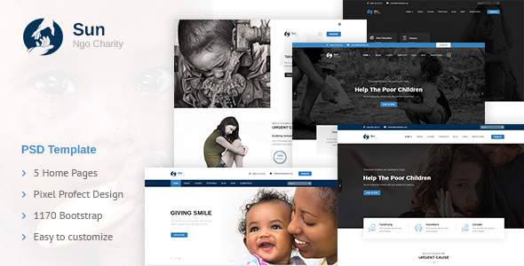 Sun – Charity Template for Nonprofit, Fundraising and NGO Organizations