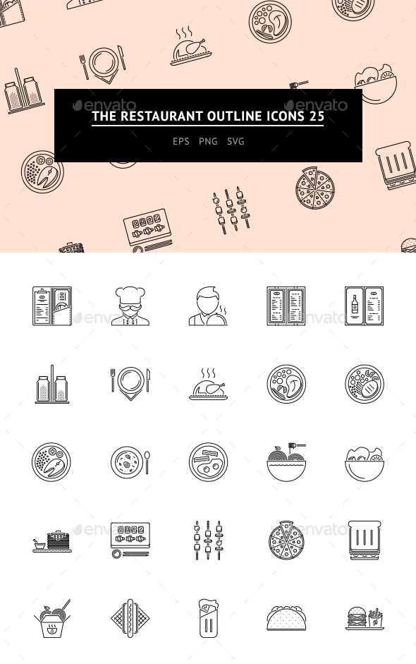 The Restaurant Outline Icons 25 - Web Icons