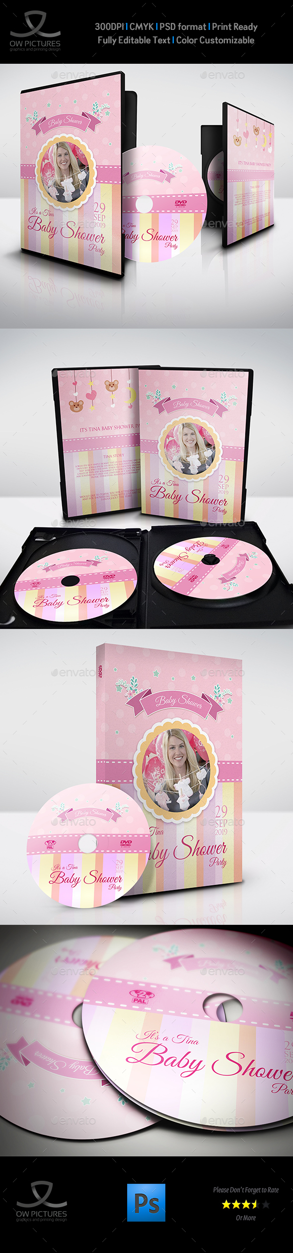 Baby Shower Party DVD Template Vol.8 - CD & DVD Artwork Print Templates