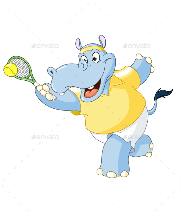 Tennis Hippo - Sports/Activity Conceptual