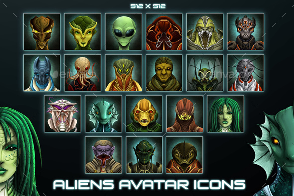 20 Aliens Avatar Game Icons - Miscellaneous Game Assets