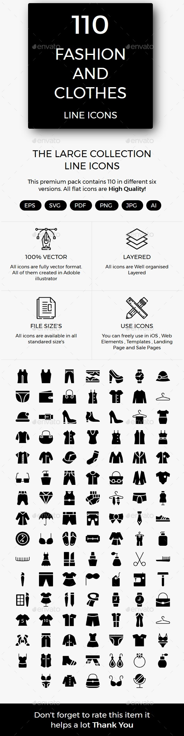 Fashion and Clothes Glyphs Icons - Web Icons