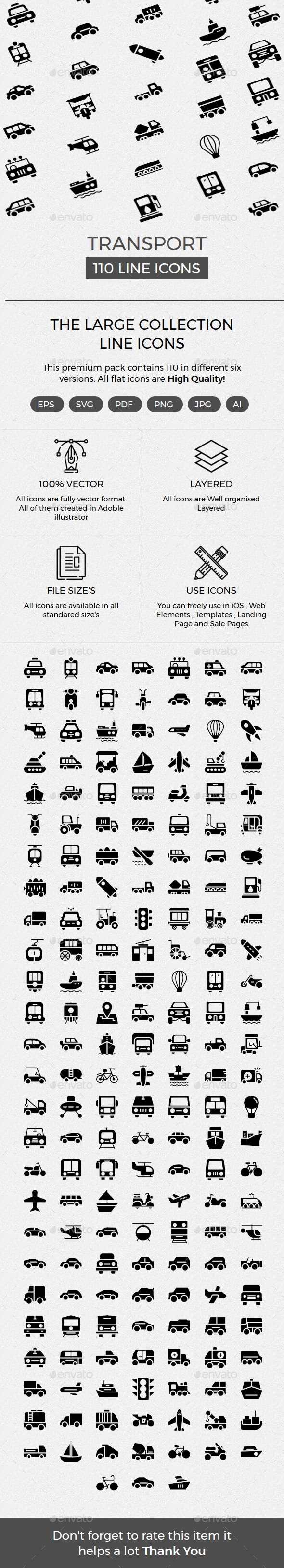 Transport Glyphs Icons - Web Icons