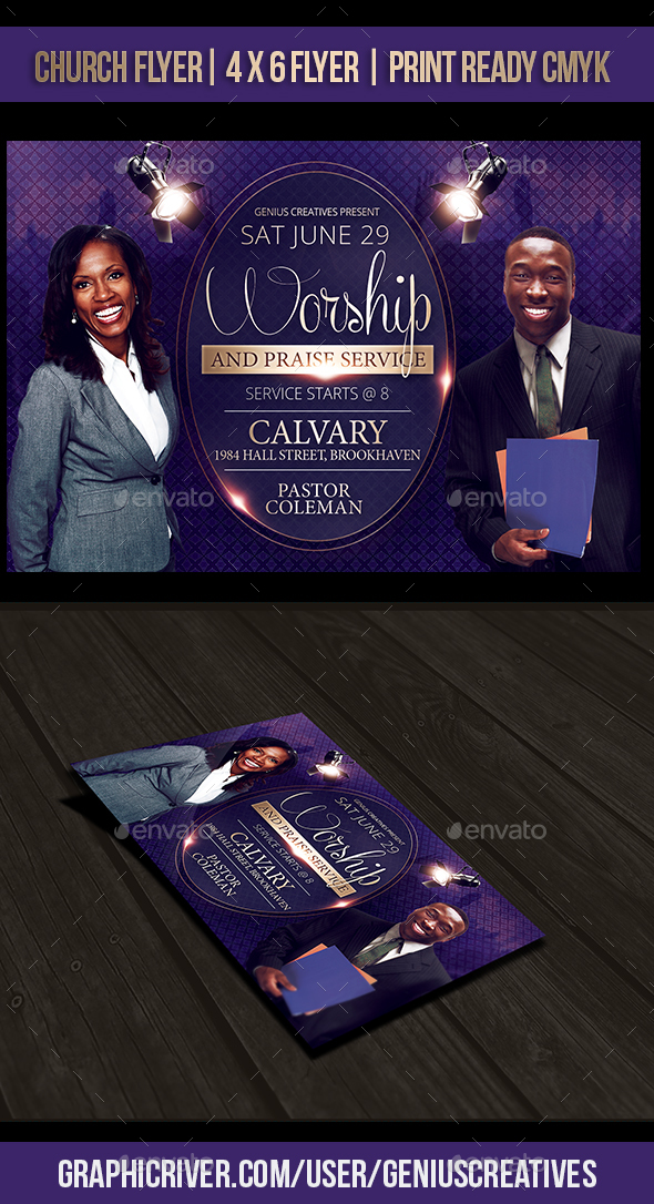 Worship Church Flyer Template By Geniuscreatives Graphicriver