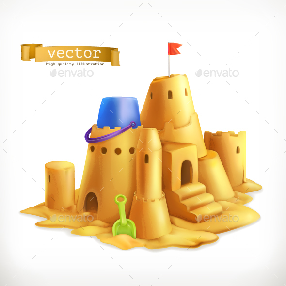 Sand Play, Sandcastle - Vectors