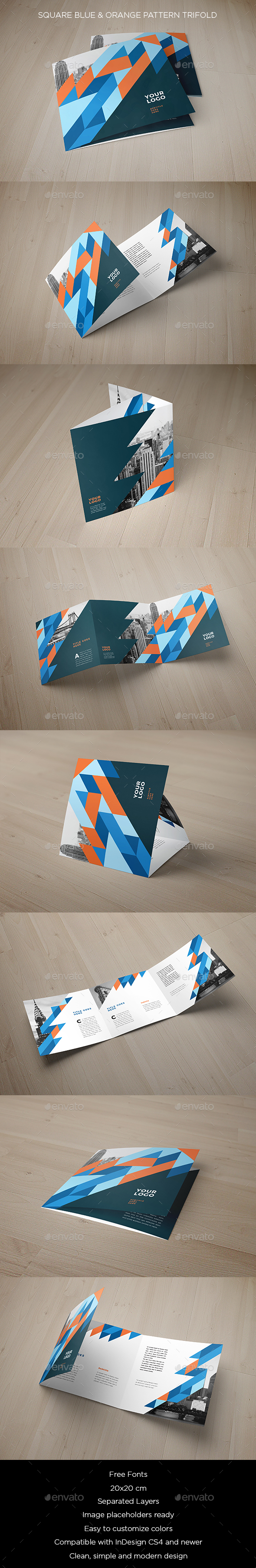 Square Blue & Orange Pattern Trifold - Brochures Print Templates
