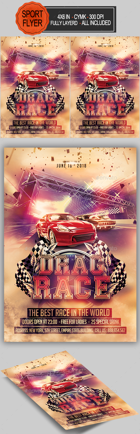 Drag Race Flyer - Sports Events
