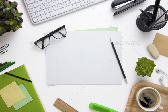 Blank Documents Surrounded By Office Supplies On Desk - Stock Photo - Images