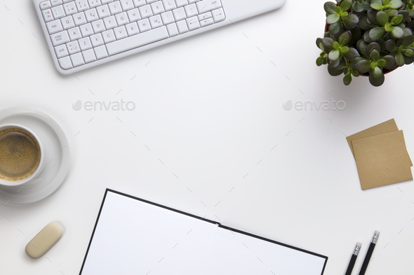 Keyboard With Coffee Cup And Office Supplies On White Desk - Stock Photo - Images