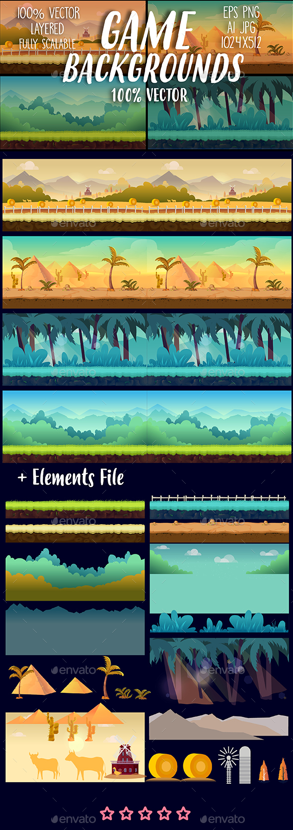Game Backgrounds Set and Elements File - Backgrounds Game Assets