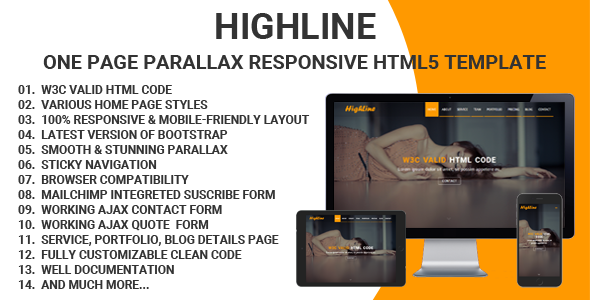 HighLine – One Page Parallax Responsive HTML5 Template