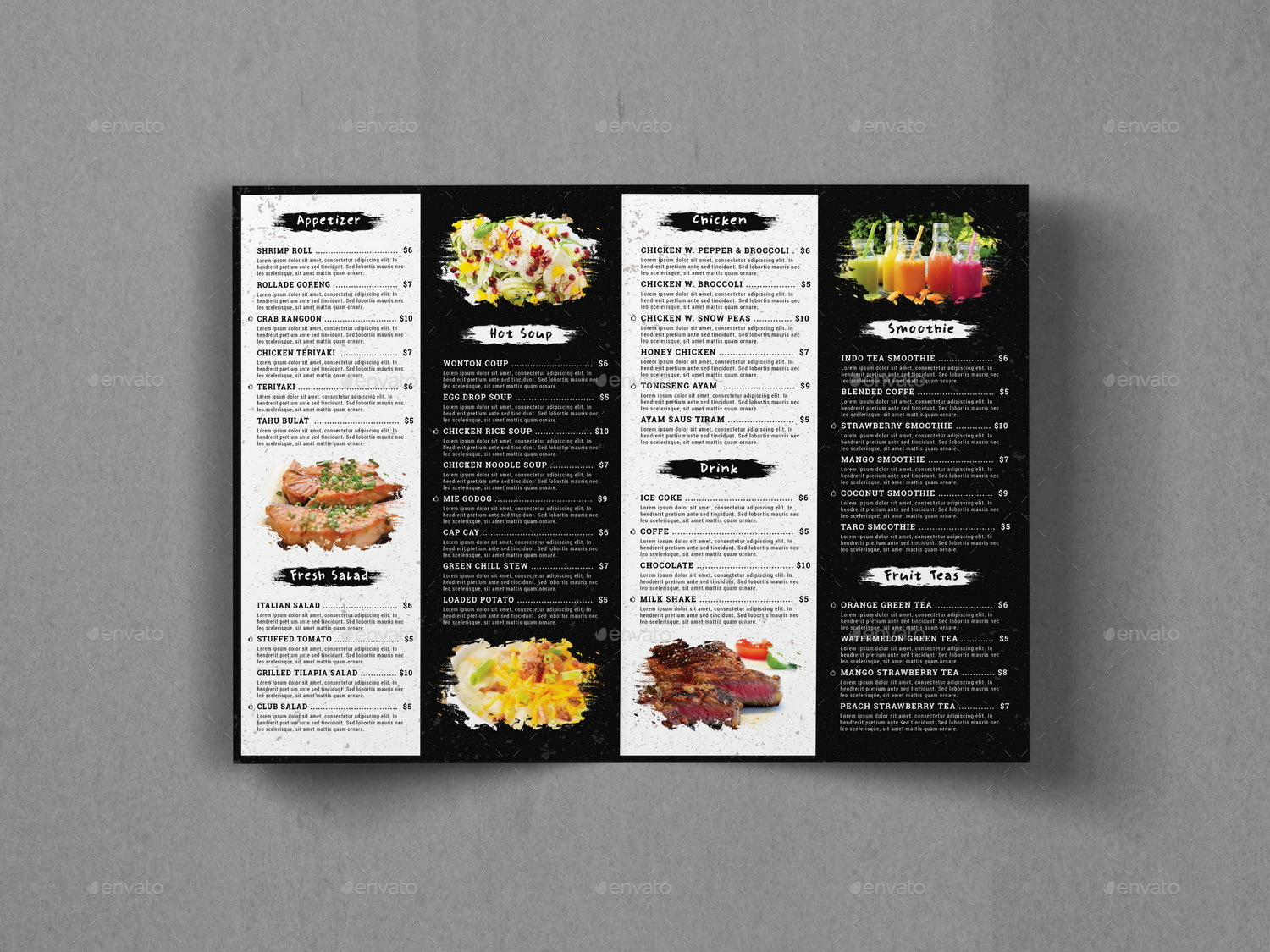 BiFold Food Menu Brochure Template By Geelator GraphicRiver - Menu brochure template
