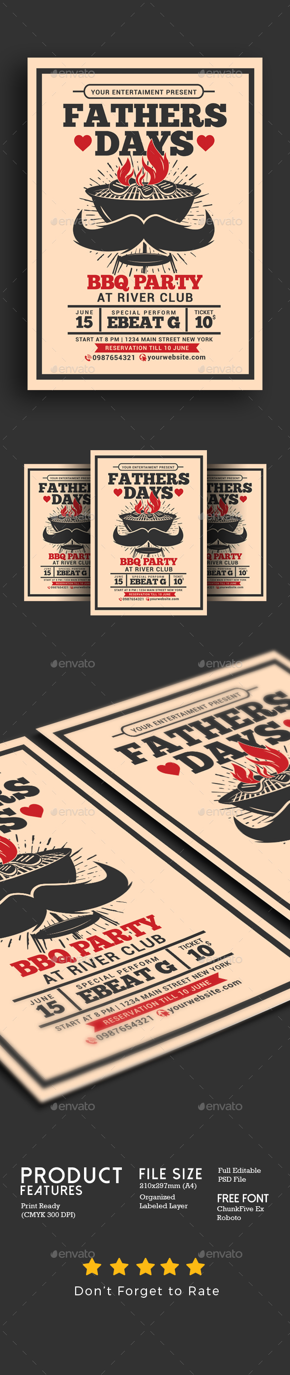 Fathers Day BBQ Party Flyer - Events Flyers