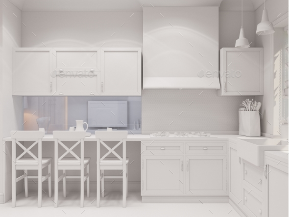 3d Render of the Interior Design of the Kitchen - Architecture 3D Renders
