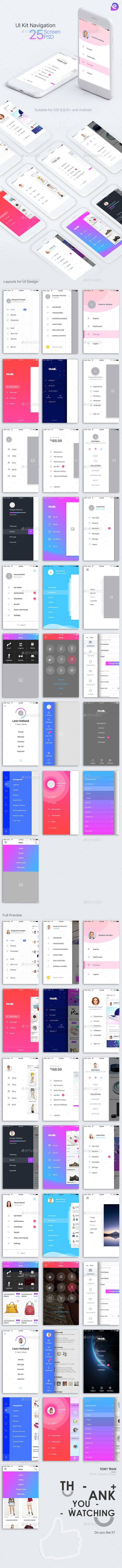 Mobile Theme UI Kit | Navigations - User Interfaces Web Elements