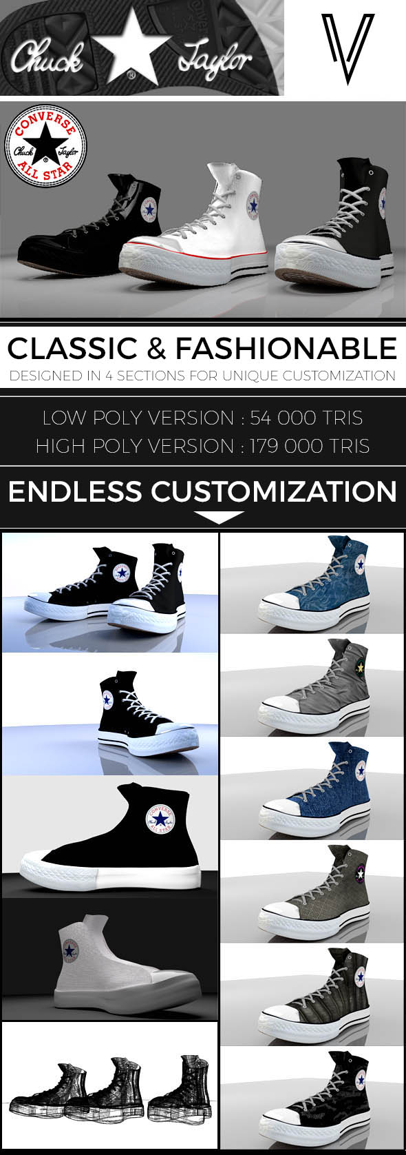 Converse Chuck Taylor - 3DOcean Item for Sale