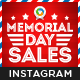 Memorial Day Instagram Templates - 10 Designs