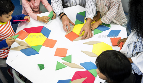 Group of diverse students at daycare - Stock Photo - Images