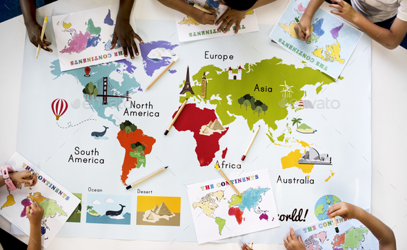 Kids Learning World Map with Continents Countries Ocean Geograph - Stock Photo - Images