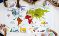 Kids Learning World Map with Continents Countries Ocean Geograph