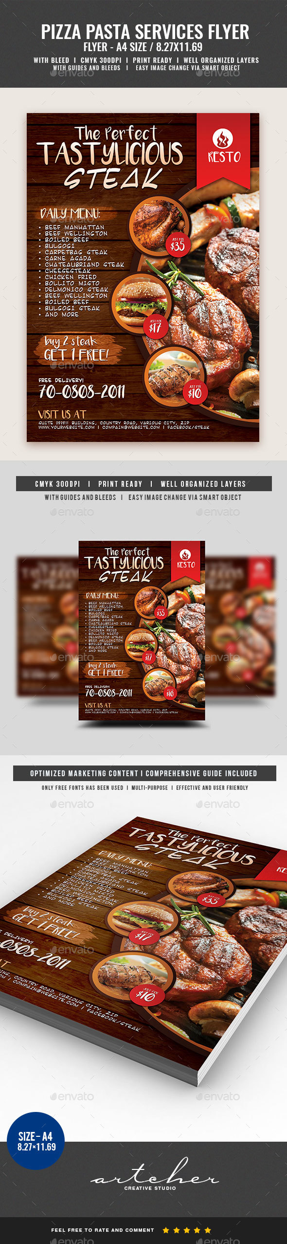 Restaurant Fast Food Steak Flyer - Restaurant Flyers