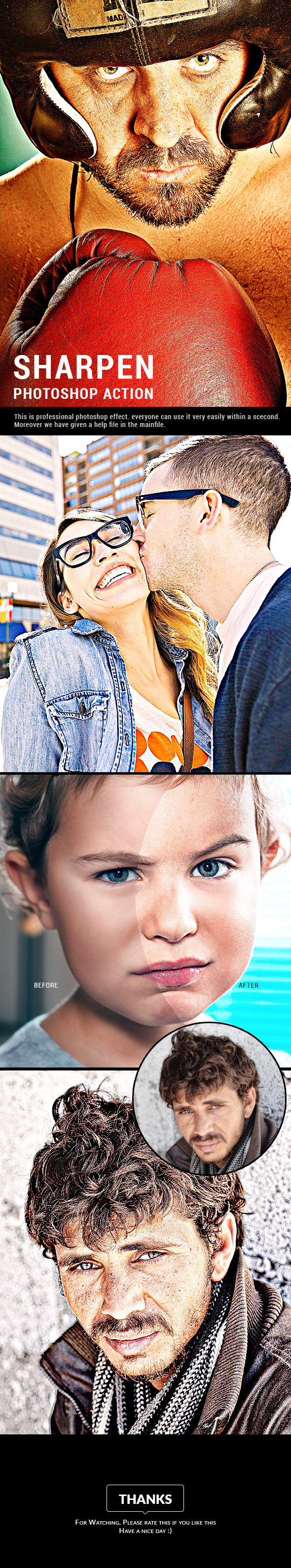 Sharpen Photoshop Action - Photo Effects Actions