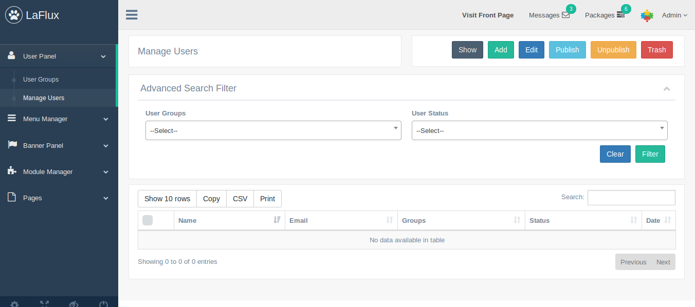 laravel 5 4  admin dashboard and template by extensionsvalley