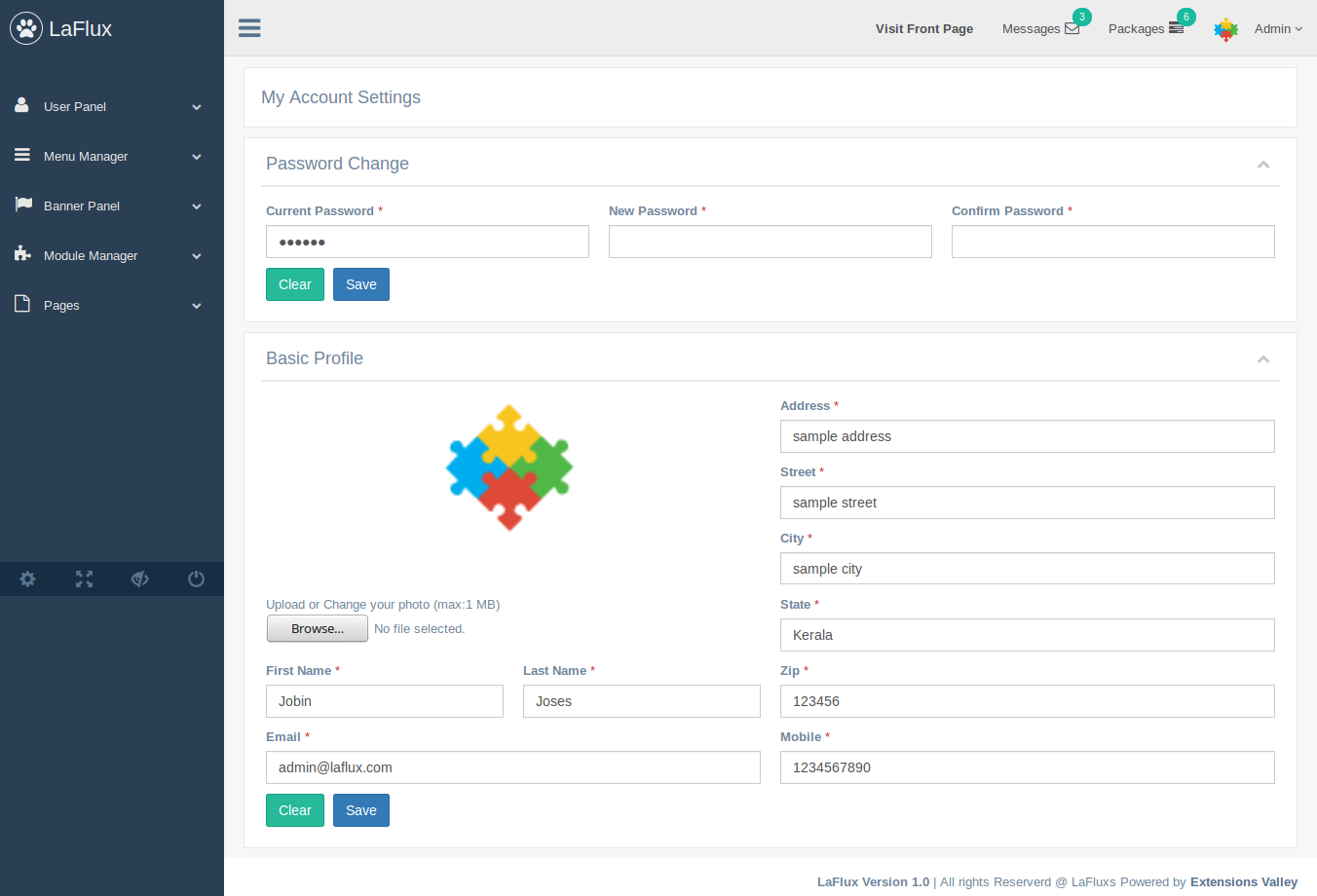 Laravel 5.4+ Admin Dashboard and Template by ExtensionsValley ...