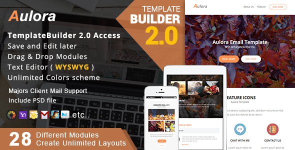 Aulora - Responsive Email + MailBuild Online - Newsletters Email Templates