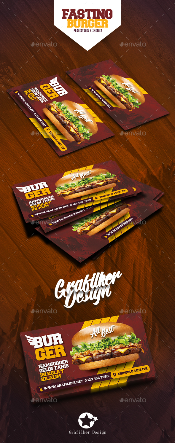 Fast Food Burger Business Card Templates - Corporate Business Cards