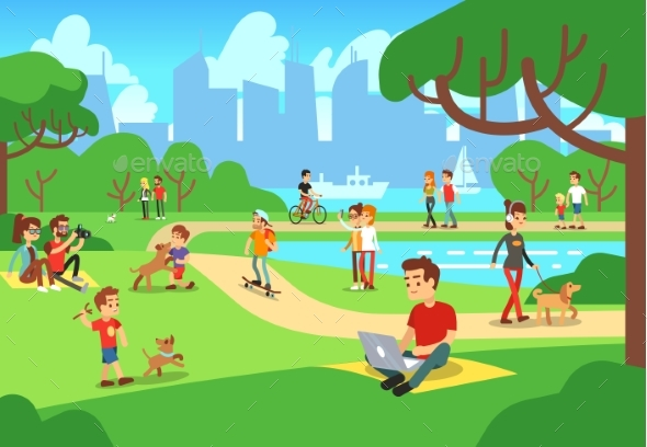 People in City Park. Relaxing Men and Women - Miscellaneous Vectors