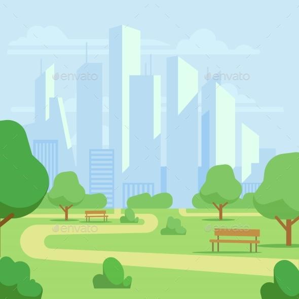 Cartoon Public City Park with Skyscrapers - Miscellaneous Vectors