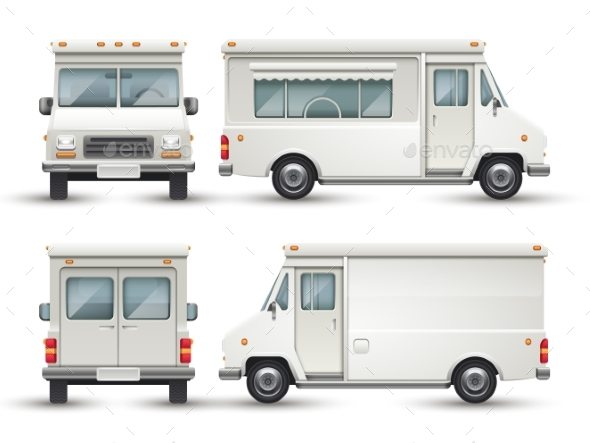 White Blank Food Car, Commercial Truck Isolated - Objects Vectors