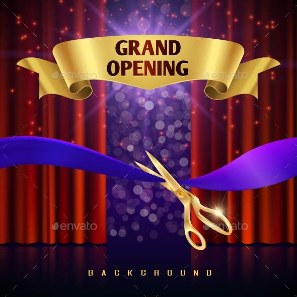 Grand Opening Vector Concept with Red Curtains - Miscellaneous Vectors