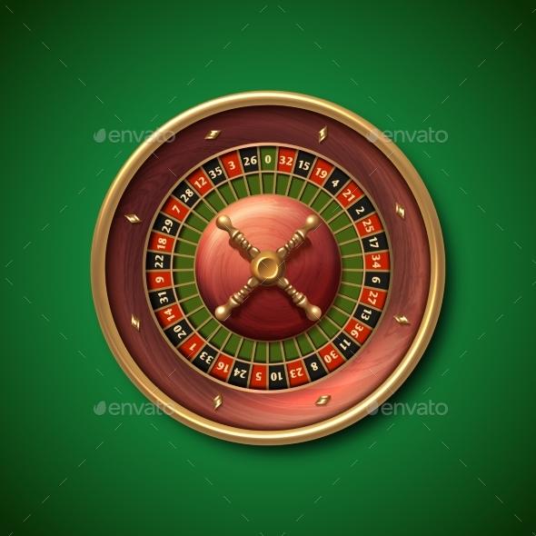 Las Vegas Casino Roulette Wheel Isolated Vector - Miscellaneous Vectors