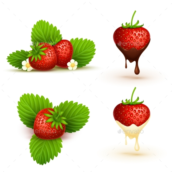 Close Up Red Ripe Strawberry with Leaves Vector - Food Objects
