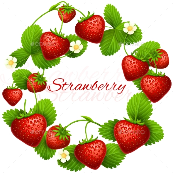 Juicy Strawberry Vector Frame Wreath. - Food Objects