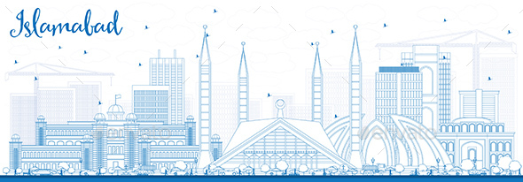 Outline Islamabad Skyline with Blue Buildings. Vector Illustration. Business Travel and Tourism Conc - Buildings Objects