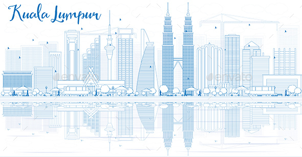 Outline Kuala Lumpur Skyline with Blue Buildings and Reflections. - Buildings Objects