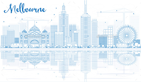 Outline Melbourne Skyline with Blue Buildings and Reflections. - Buildings Objects