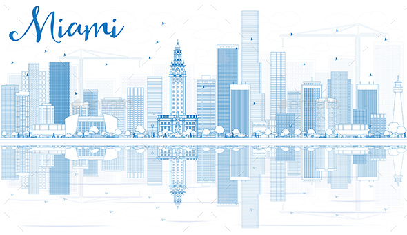 Outline Miami Skyline with Blue Buildings and Reflections. - Buildings Objects