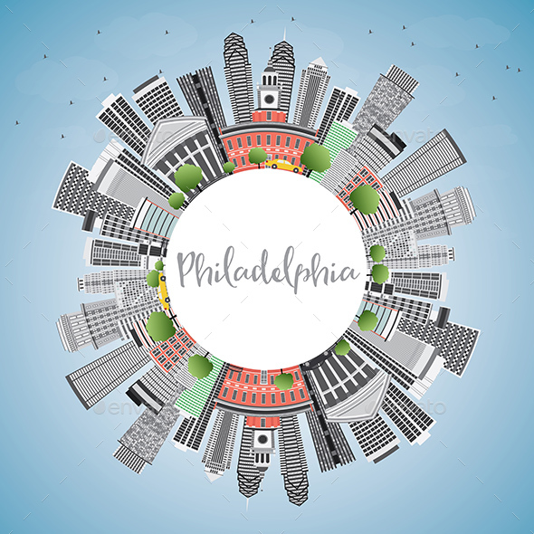 Philadelphia Skyline with Gray Buildings, Blue Sky and Copy Space. - Buildings Objects