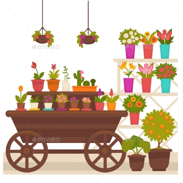 Wagon with Flower Pots - Flowers & Plants Nature