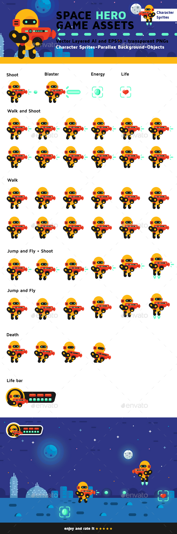 Space Hero Game Assets - Sprites Game Assets