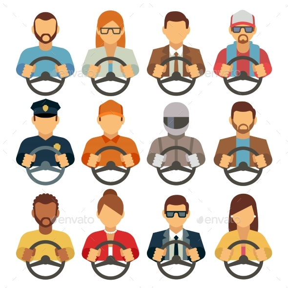 Man and Woman Drivers Vector Flat Icons - People Characters