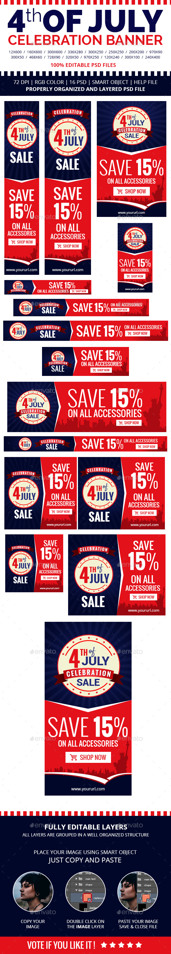 4th of July Celebration Banners - Banners & Ads Web Elements